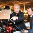Giorgio Moroder, Bryan Rabin lors d'une fête pour la sortie de Deja Vu, le nouvel album de Giorgio Moroder, au Standard, West Hollywood, le 27 juin 2015.