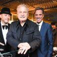 Adam Bravin, Giorgio Moroder, Bryan Rabin lors d'une fête pour la sortie de Deja Vu, le nouvel album de Giorgio Moroder, au Standard, West Hollywood, le 27 juin 2015.