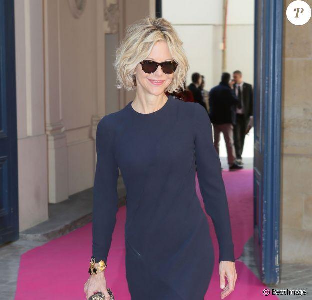 Meg Ryan lors du défilé Schiaparelli (collection haute couture automne-hiver 2015-2016) à l'hôtel d'Evreux. Paris, le 6 juillet 2015.