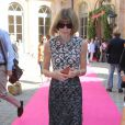 Anna Wintour lors du défilé Schiaparelli (collection haute couture automne-hiver 2015-2016) à l'hôtel d'Evreux. Paris, le 6 juillet 2015.