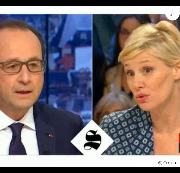 François Hollande, invité exceptionnel de Maïtena Biraben dans Le Supplément sur Canal+, le dimanche 19 avril 2015.