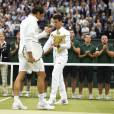 Novak Djokovic of Serbia with the trophy after he wins the men final against Roger Federer of SWISS at the Wimbledon Championships in London, Great Britain on JULY, 12, 2015. Photo by Corinne Dubreuil/ABACAPRESS.COM12/07/2015 - London