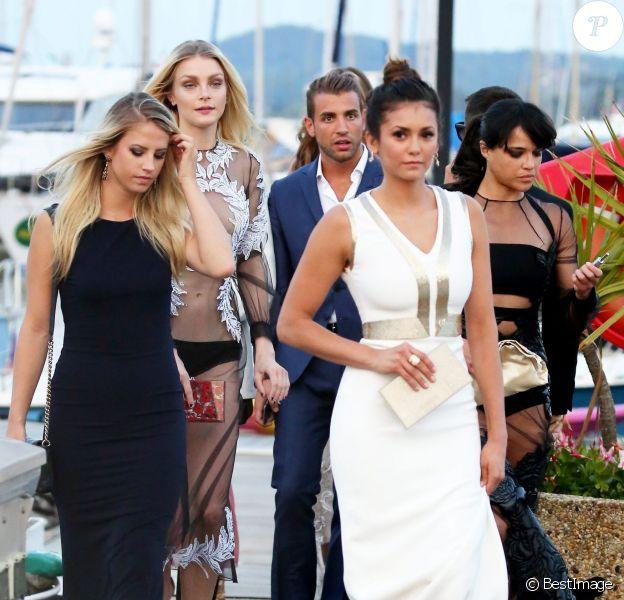 Nina Dobrev, Michelle Rodriguez, Jessica Stam se rendent à la soirée organisée par Leonardo DiCaprio au profit de sa fondation au Domaine Bertaud Belieu à Gassin le 22 juillet 2015.