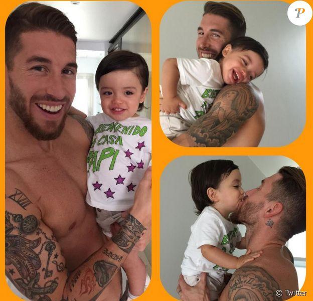 Sergio Ramos retrouve son fils Sergio Jr. (1 an) après sa préparation en Australie, le 31 juillet 2015 à Madrid.