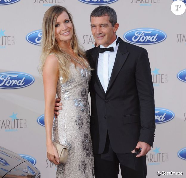 "Antonio Banderas et sa compagne Nicole Kimpel - People lors du ""Starlite Gala"" à Marbella, le 9 août 2015."