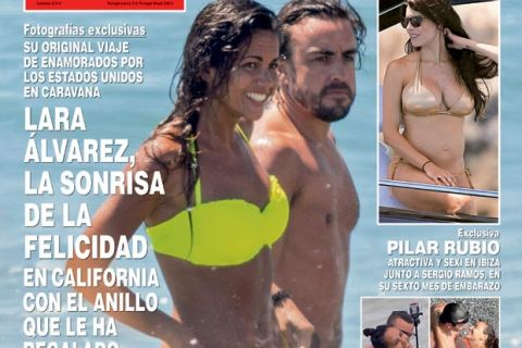 Fernando Alonso : Soleil et câlins avec Lara Alvarez... avant le mariage ?