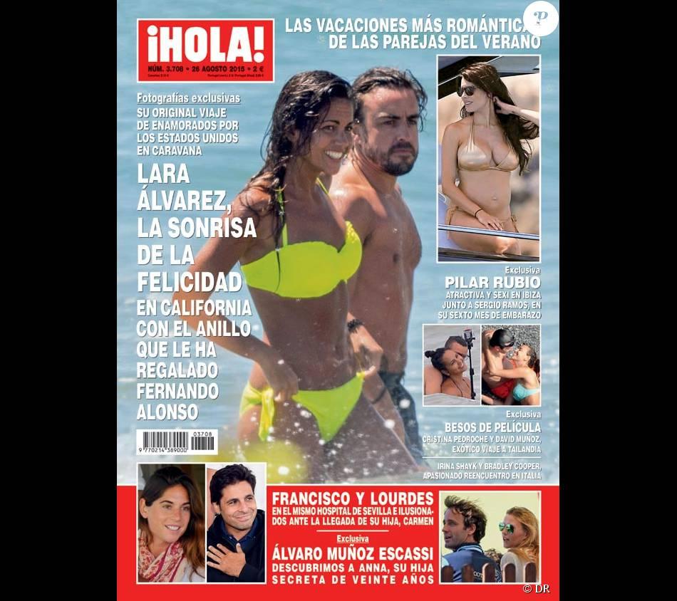 Fernando Alonso et Lara Alvarez, en vacances en Californie, font la couverture de Hola - août 2015