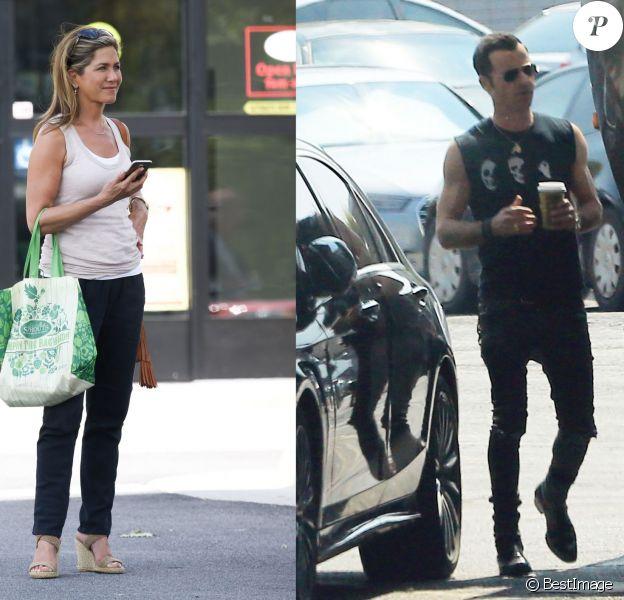 """Exclusif - Justin Theroux et Jennifer Aniston ont repris le chemin des studios ! Justin est sur le tournage de la série """"The Leftlovers"""" saison 2 à Austin au Texas, le 27 août 2015. L'actrice est, de son côté, de retour sur le tournage de son prochain film """"Mother's Day"""" à Atlanta le même jour"""