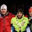 Emil Hegle Svendsen, Martin Fourcade et Ondrej Moravec lors du 20 km des Championnats du monde de biathlon qui se déroulaient à Kontiolahti, le 12 mars 2015