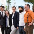 """Todd Charmont, Clara Royer, Laszlo Nemes,Geza Rohrig, Urs Rechn - Photocall du film """"Le Fils deSaul"""" lors du 68e Festival international du film de Cannes le 15 mai 2015."""