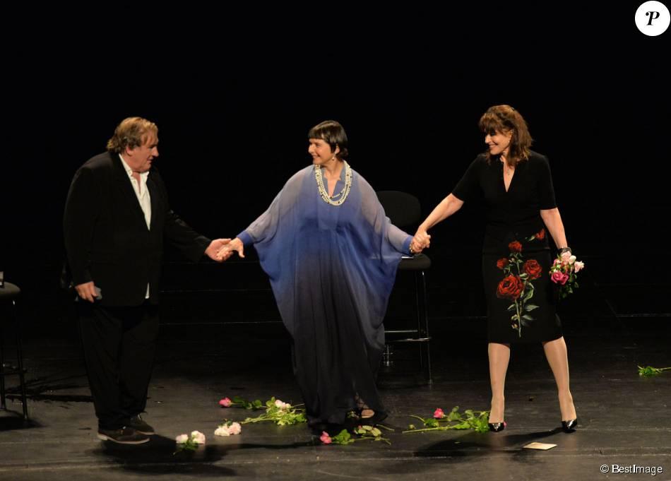 """Gérard Depardieu, Isabella Rossellini et Fanny Ardant - """"The Ingrid Bergman Tribute"""", le spectacle hommage au profit de l'Unicef au théâtre du Châtelet à Paris le 5 octobre 2015."""