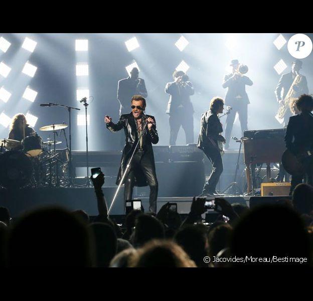 """Photo Exclusive - Johnny Hallyday au palais Nikaia, premier concert de sa tournée """"Rester Vivant"""" à Nice, le 2 octobre 2015."""