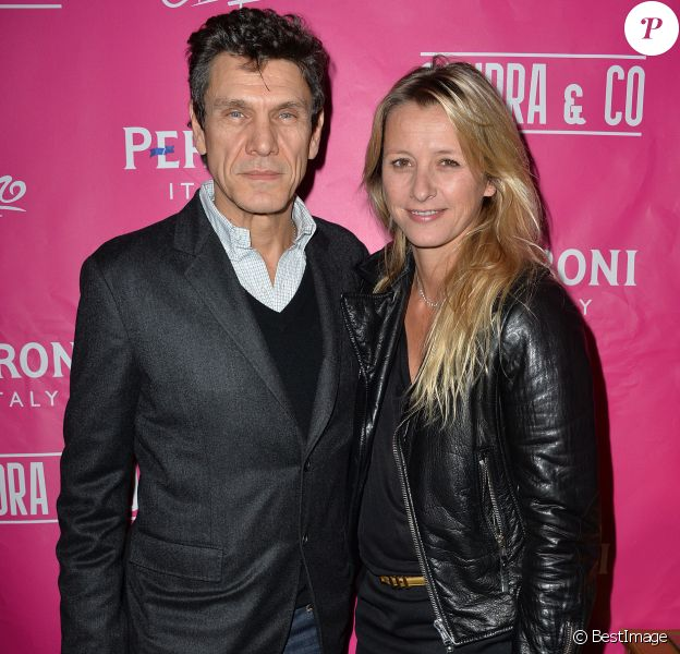 Marc et Sarah Lavoine - Paris le, 14 02 2014 - Contre soirée de la Saint Valentin par l'agence Sandra & CO au club Le Chapelier à Paris , le 14 février 2014