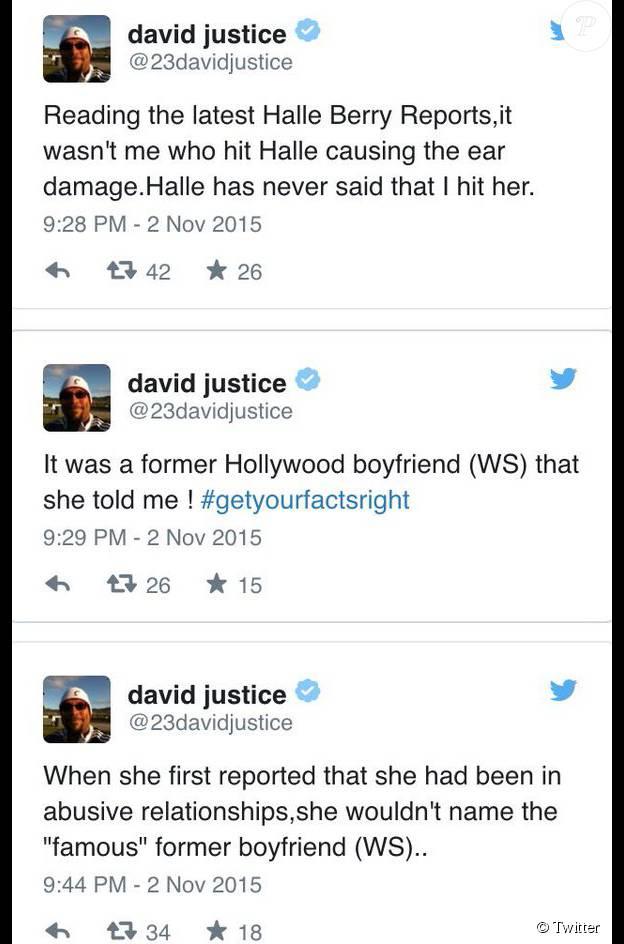 Capture d'écran des messages de David Justice concernant son histoire avec Halle Berry.
