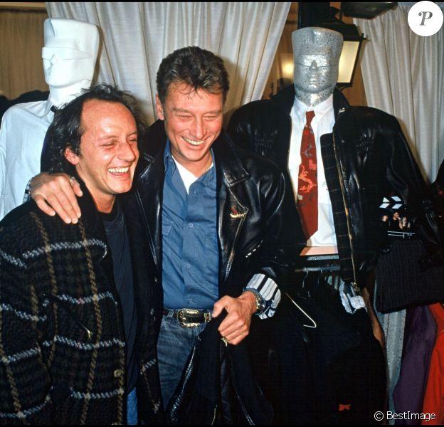 Didier Barbelivien et Johnny Hallyday à Paris le 4 février 1988
