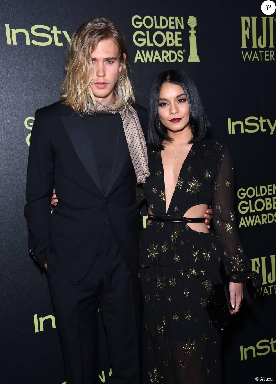 Austin Butler et Vanessa Hudgens assistent à la soirée de coup d'envoi de la saison des Golden Globes, organisée par l'association HFPA et le magazine InStyle. Los Angeles, le 17 novembre 2015.