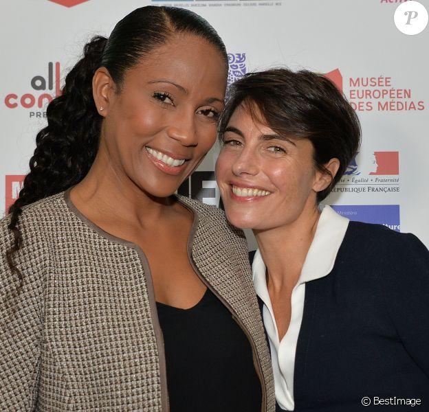 Christine Kelly et Alessandra Sublet, lors de la conférence Journée Éducation aux médias (JEM) au Studio rive gauche, à Paris le 21 novembre 2015. © Veeren