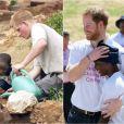 """Le prince Harry retrouvait avec bonheur Mutsu Potsane, 15 ans, le 26 novembre 2015 lors de sa visite au Lesotho. Onze ans après leur première rencontre, ça """"colle"""" toujours entre les deux garçons."""