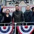 Matt Sanchez, Zac Barnett, James Adam Shelley, et Dave Rublin, des American Authors à la parade de Thanksgiving à New York le 26 novembre 2015.