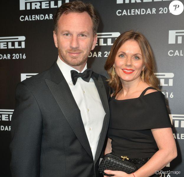 Christian Edward Johnston Horner et sa femme Geri Halliwell assistent au dîner de présentation du calendrier Pirelli à la Roundhouse. Londres, le 30 novembre 2015.