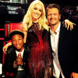 """Gwen Stefani, Blake Shelton et Pharrell Williams sur le plateau de The Voice Us / photo postée sur Instagram au mois d'octobre 2015."""