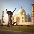 Eva Longoria : vacances de folie en Inde. Ici devant le Taj Mahal