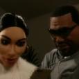 Les marionnettes de Kim Kardashian et Kanye West, dans les  Guignols de l'Info  sur Canal+, le lundi 14 décembre 2015.