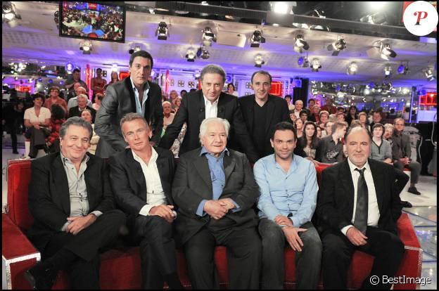 Michel Delpech et Michel Galabru chez Michel Drucker avec Dany Brillant, Elie Semoun, Christian Clavier, Franck Dubosc et Yann Moix - Vivement Dimanche, octobre 2009.