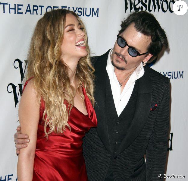 Johnny Depp et sa femme Amber Heard - 9ème Gala Heaven organisé par l'association The Art Of Elysium à Culver City le 9 janvier 2016.