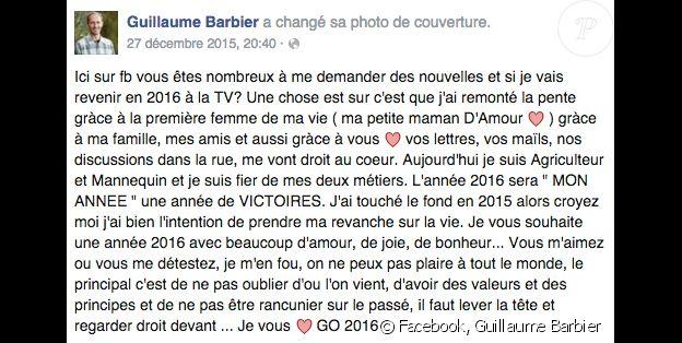 """Guillaume, candidat de la saison 10 de """"L'amour est dans le pré"""" confesse avoir touché le fond en 2015."""