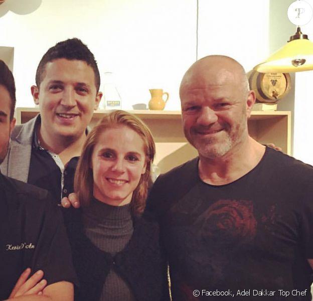 """Adel (""""Top Chef 2015""""), toujours en couple avec Vanessa. Ils ont passé un bon moment avec leur ancien concurrent Kévin D'Andréa et le juré Philippe Etchebest. Octobre 2015."""