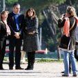 Rowan Atkinson en vacances à Rome avec sa femme Sunestra et sa fille Lily le 20 octobre 2009