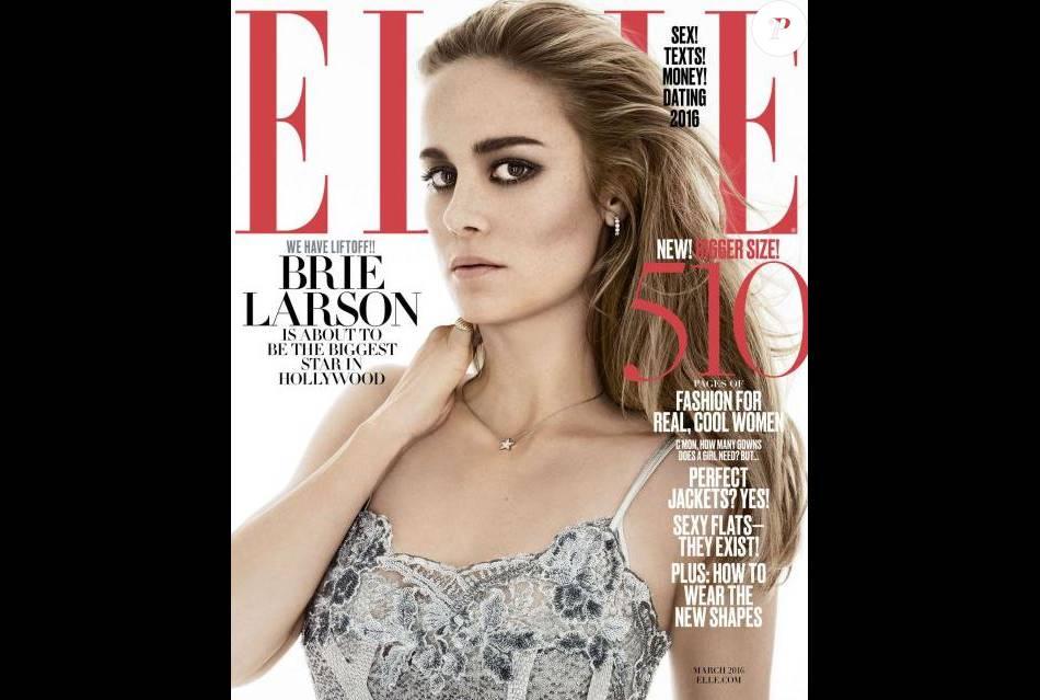 Brie Larson en couverture de ELLE US, mars 2016