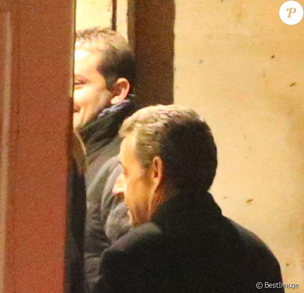 Exclusif - Nicolas Sarkozy- L'ancien président de la république, Nicolas Sarkozy, a fêté son 61e anniversaire au restaurant Guy Savoy, dans lequel travaille Léonard Trierweiler, en compagnie de sa femme, ses enfants et leurs amis. Paris, le 28 janvier 2016
