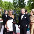 Le prince Johann Georg von Hohenzollern et la princesse Birgitta de Suède en juin 2010 à Stockholm lors du dîner offert par le gouvernement suédois avant le mariage de la princesse Victoria. Johann Georg, surnommé Hansi, est décédé à 83 ans le 2 mars 2016 à Munich.