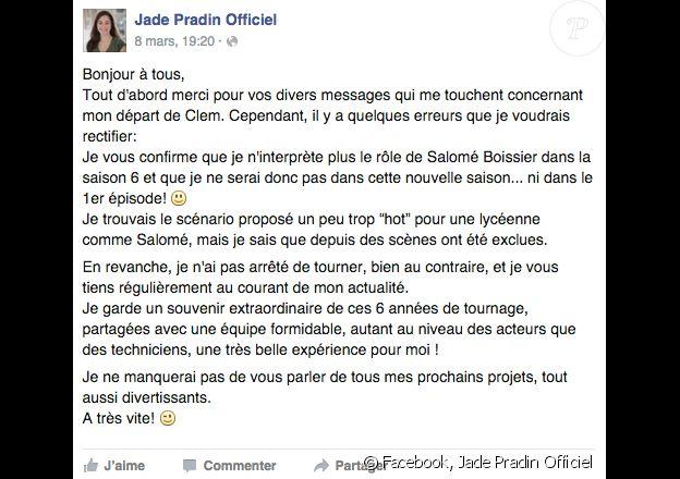 """Jade Pradin révèle pourquoi elle quitte la série """"Clem"""". Mars 2016."""
