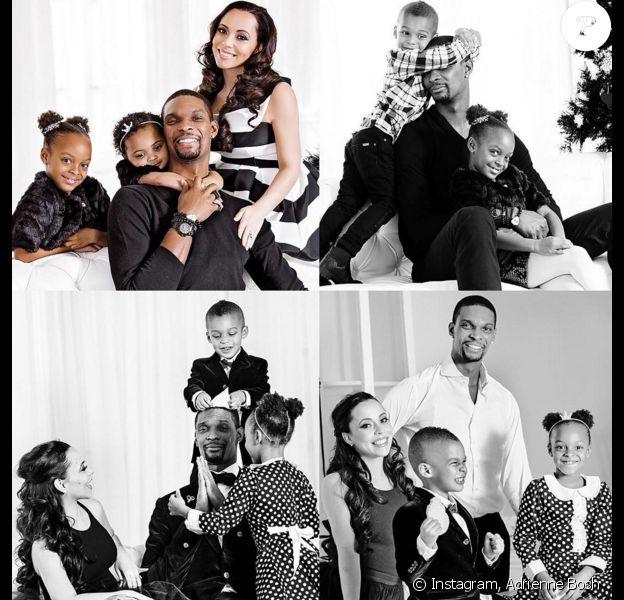Chris Bosh et sa femme Adrienne (photo Instagram lors des fêtes de fin d'année 2015) sont devenus le 15 mars 2016 parents de jumeaux, Lennox et Phoenix, qui rejoignent leur grande demi-soeur Trinity (6 ans), leur frère Jackson et leur soeur Dylan Skye.