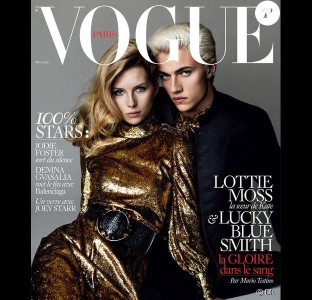 Lottie Moss et Lucky Blue Smith en couverture du nouveau numéro (mai 2016 de Vogue Paris). Photo par Mario Testino.