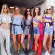 Constance Jablonski, Taylor Hill, Sara Sampaio, Alessandra Ambrosio et Josephine Skriver au week-end d'ouverture du festival Coachella. Indio, avril 2016.