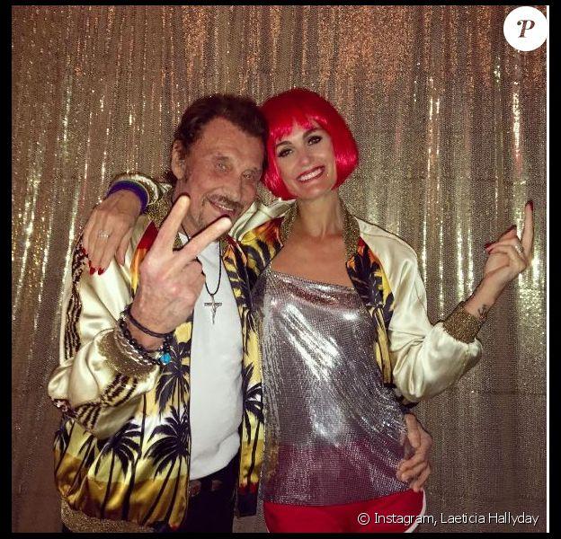 Laeticia Hallyday et Johnny lors d'une soirée roller à Lombardi House, le 21 mai 2016 à Los Angeles