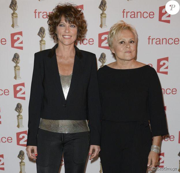 Anne Le Nen et Muriel Robin - Soirée de la 28ème Nuit des Molières au théâtre des Folies Bergère à Paris. Le 23 mai 2016 © Coadic Guirec / Bestimage