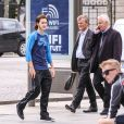 René-Charles Angélil se rend à la boutique Adidas sur l'avenue des Champs Elysées, à Paris le 14 juin 2016.