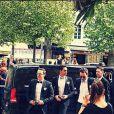 """""""Grégoire Lyonnet, Christophe Licatat et Yann-Alrick lors du mariage de Grégoire et Alizée, le 18 juin 2016, en Corse"""""""