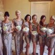 Fauve Hautot, Candice Pascal, Katrina Patchett, Coco Licata, Emmanuelle Berne, Denitsa Ikonomova et Silvia Notargiacomo demoiselles d'honneur d'Alizée pour son mariage en Corse, le 18 juin 2016
