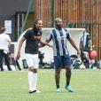 Semi-Exclusif - Medhy Custos et Djibril Cissé - People lors du tournoi de football Media Cup, un tournoi par équipe de production ou chaine de télévision, à Meudon. Le 2 juillet 2016