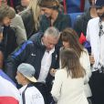 Didier Deschamps et sa femme Claude - Les joueurs retrouvent leur famille dans les tribunes à la fin du match de quart de finale de l'UEFA Euro 2016 France-Islande au Stade de France à Saint-Denis le 3 juillet 2016. © Cyril Moreau / Bestimage