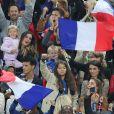Marine Lloris (Femme de Hugo Loris), Ludivine Sagna (la femme de Bacary Sagna), Jennifer Giroud (la femme d'Olivier Giroud), Tiziri Digne (La femme de Lucas Digne), Sephora (la compagne de Kingsley Coman) et Ludivine Payet (la femme de Dimitri Payet) lors du match du quart de finale de l'UEFA Euro 2016 France-Islande au Stade de France à Saint-Denis, France le 3 juillet 2016. © Cyril Moreau/Bestimage
