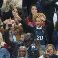 Ludivine Sagna (la femme de Bacary Sagna), Jennifer Giroud (la femme d'Olivier Giroud), Tiziri Digne (La femme de Lucas Digne), et Sephora (la compagne de Kingsley Coman) lors du match du quart de finale de l'UEFA Euro 2016 France-Islande au Stade de France à Saint-Denis, France le 3 juillet 2016. © Cyril Moreau/Bestimage