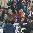 Sephora (la compagne de Kingsley Coman), Ludivine Sagna (la femme de Bacary Sagna), andra Evra (La femme de Patrice Evra), Jennifer Giroud (la femme d'Olivier Giroud), Ludivine Payet (la femme de Dimitri Payet) et Adil Rami lors du match du quart de finale de l'UEFA Euro 2016 France-Islande au Stade de France à Saint-Denis, France le 3 juillet 2016. © Cyril Moreau/Bestimage