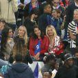 Sephora (la compagne de Kingsley Coman), Ludivine Sagna (la femme de Bacary Sagna), Sandra Evra (La femme de Patrice Evra), Jennifer Giroud (la femme d'Olivier Giroud) et Ludivine Payet (la femme de Dimitri Payet) lors du match du quart de finale de l'UEFA Euro 2016 France-Islande au Stade de France à Saint-Denis, France le 3 juillet 2016. © Cyril Moreau/Bestimage